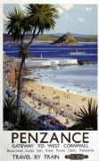 Penzance, West Cornwall. Vintage British Railways Travel poster by Harry Riley
